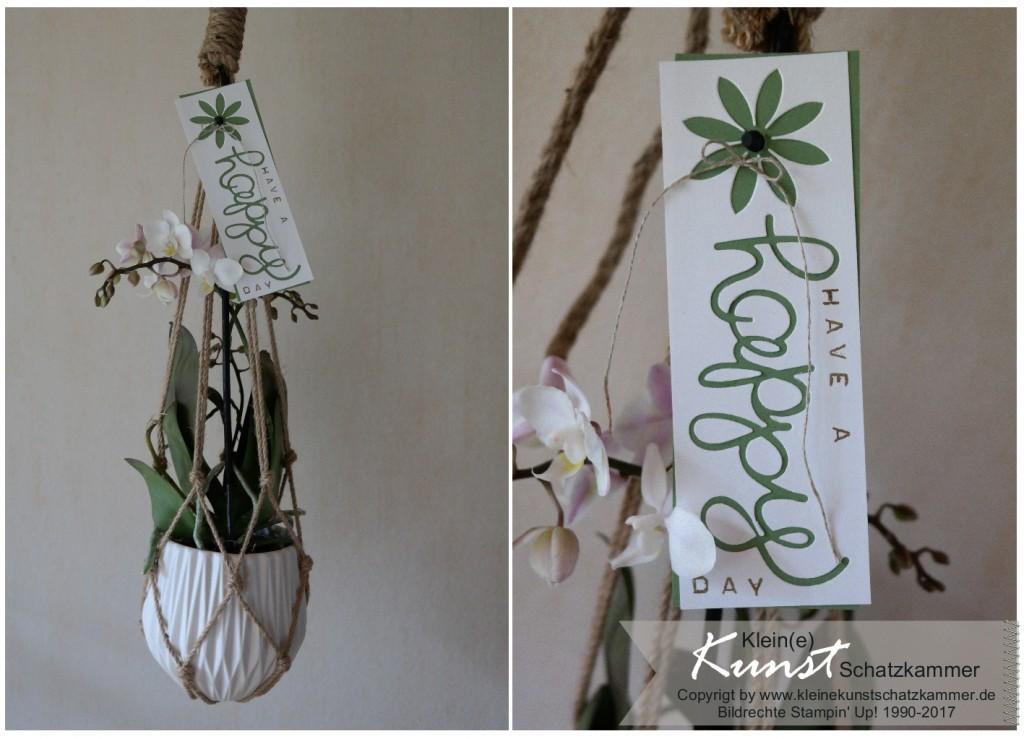 Blumenampel mit Geschenkanhänger gestempelt mit Stampin Up Labeler Alphabet