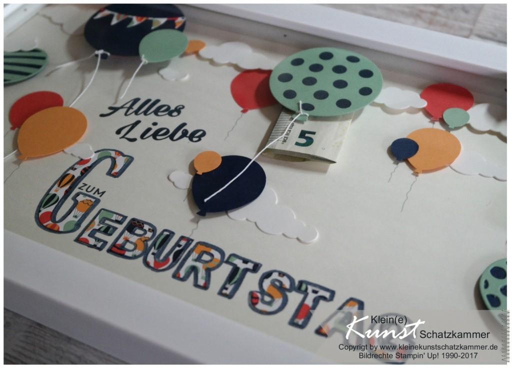 Stampin Up Ballon Party Geschenk Geldverpackung Rahmen mit Stempeln