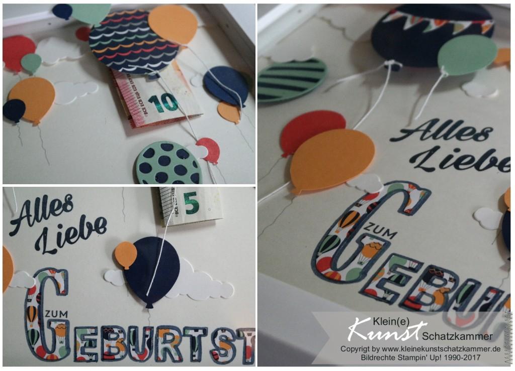 Geldgeschenk Verpackung zum Geburtstag eines Teenager mit Ballons