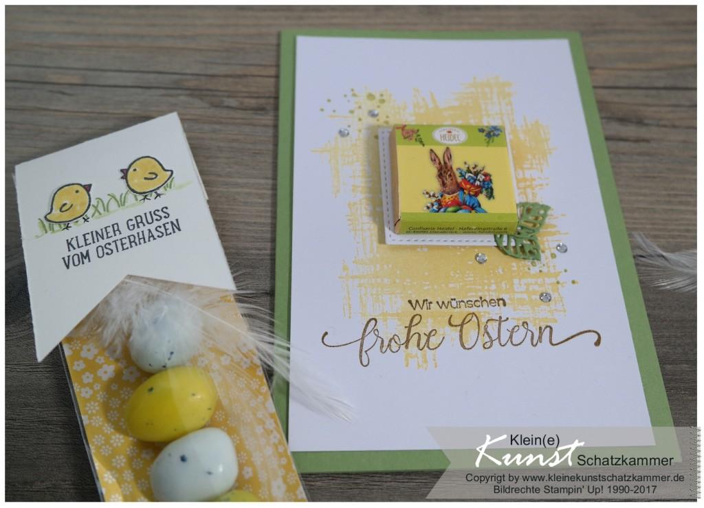 StampinUp Ostern Karte mit Gastgeschenk Reihenweise Grüße und Osterkörbchen