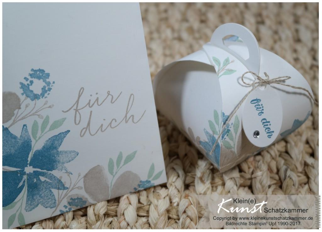Stampinup Stempelset Durch die Blume Glückwunschkarte mit Geschenkschachtel