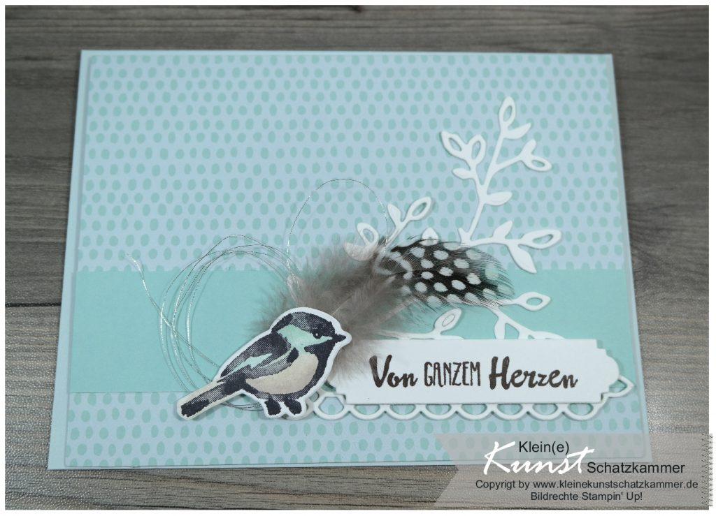 Stampin Up Karte mit Vogel Stempel und Stanze Blüten Traum Glückwunsch