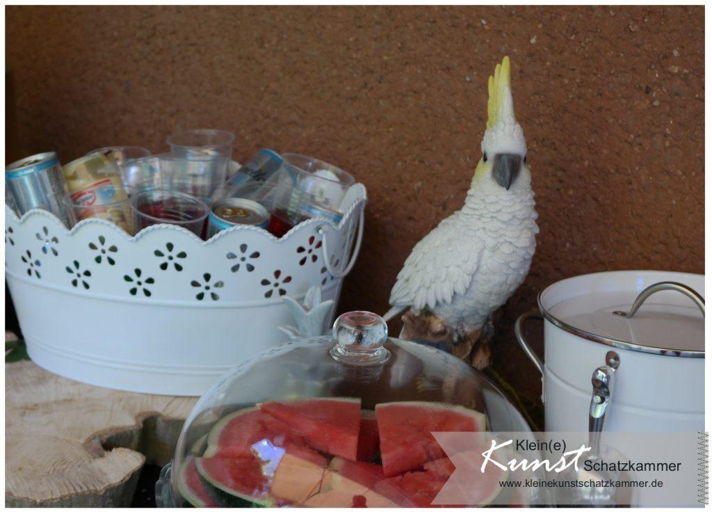 Kakadu oder Nymphensittich? Deko auf der Limonaden Bar zum StampinUp Teamtreffen