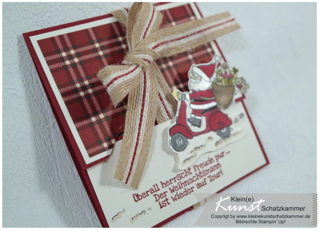 Weihnachtsmann Roller Stampin Up Stempel Karte Gutschein