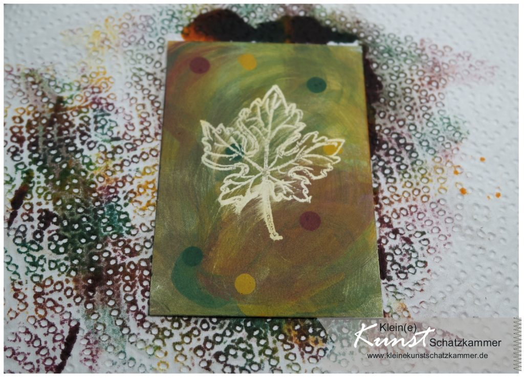Wischen mit Stempelfarbe auf Glanzkarton Karte Herbst Stampin Up