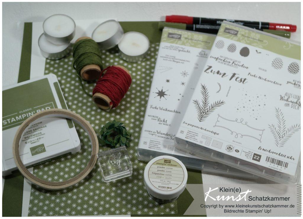 Teelichtkarte Bastel Zubehör für eine Karte mit Stempeln Weihnachtszauber von Stampin Up