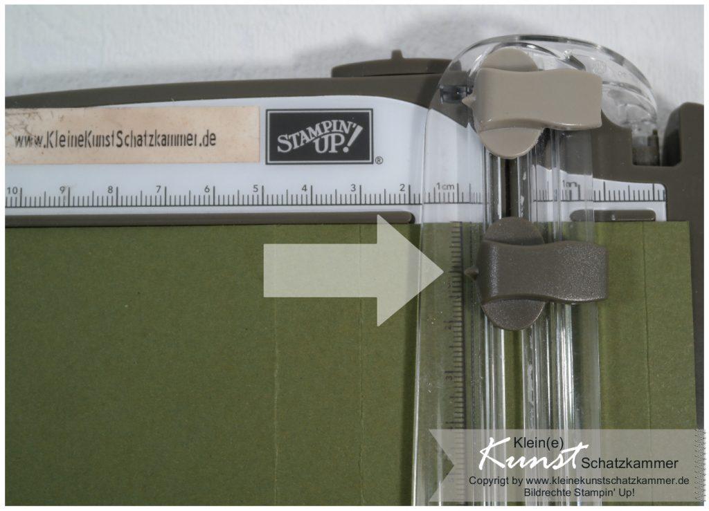 Bastelanleitung Basteln mit Stempeln Papierschneider Stampin Up Teelichtkarte