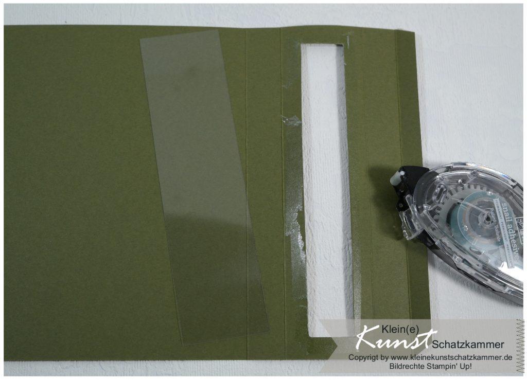 Fenster ausschneiden mit SU Papierschneider Fenster Folie basteln