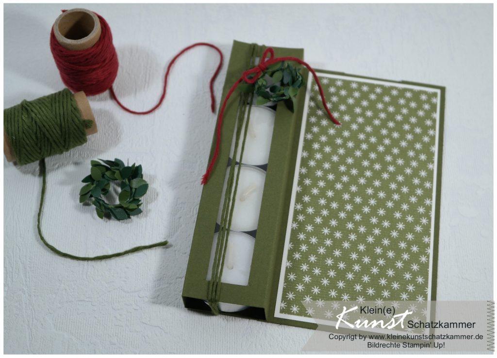 Teelicht Karte Weihnachtlich dekorieren mit Stempeln