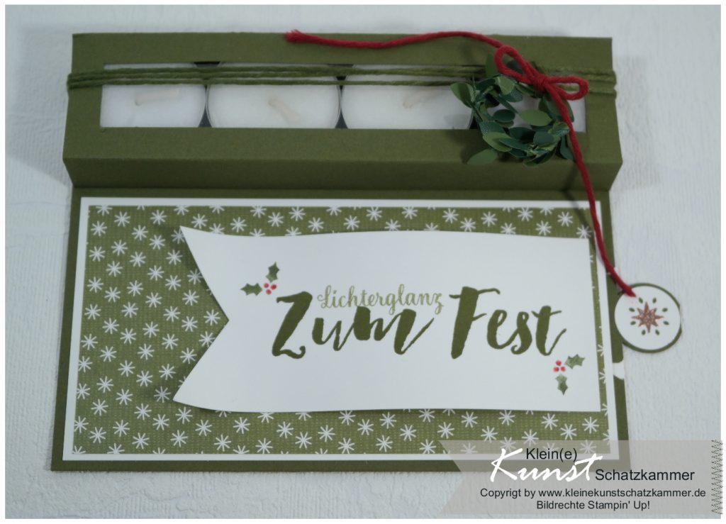 Teelicht Karte Weihachten 2018 Moosgrün Stempelset Tannenzauber Weihnachtsstern