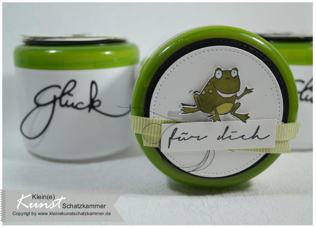 Glückskekse in Cremedose gebastelt mit dem Stempelset Froschkönig von Stampin Up