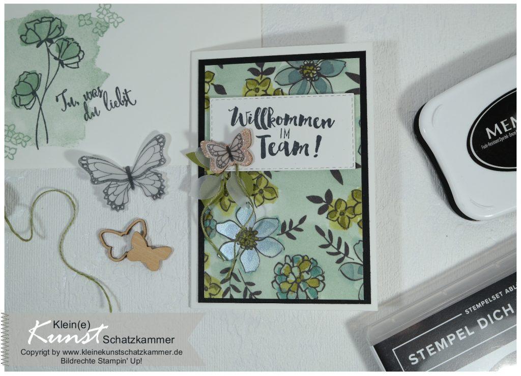 Stampin Up Team Demonstartor Demonstratorin Demo werden Team Geschenk Willkommen Karte Schmetterling
