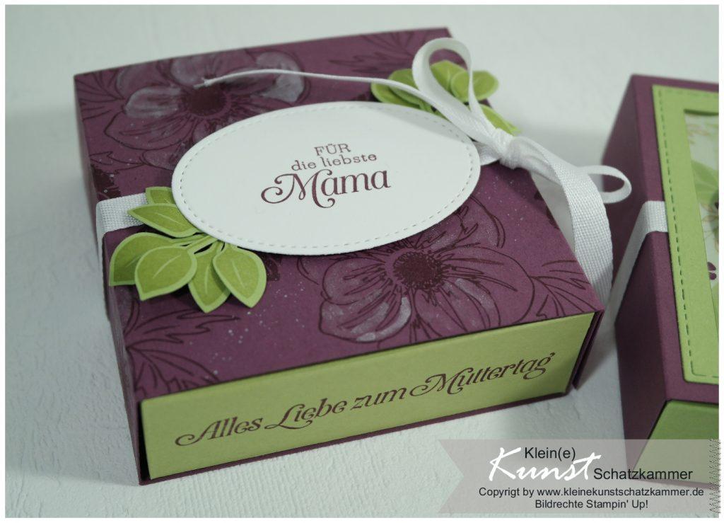 Geschenkverpackung zum Muttertag gestempelt in Feige