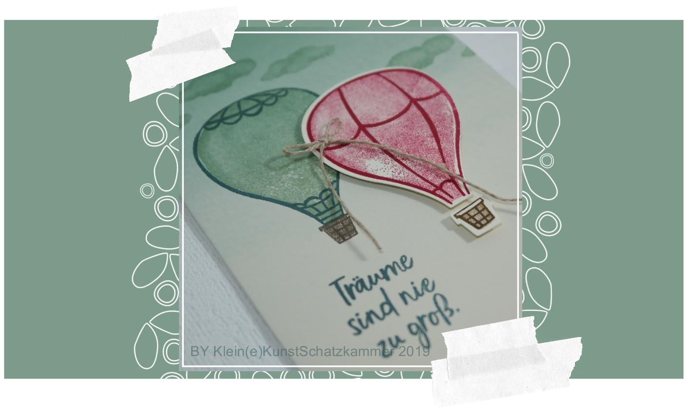 Geburtstagskarte Karte Über den Wolken mit Heissluftballonen