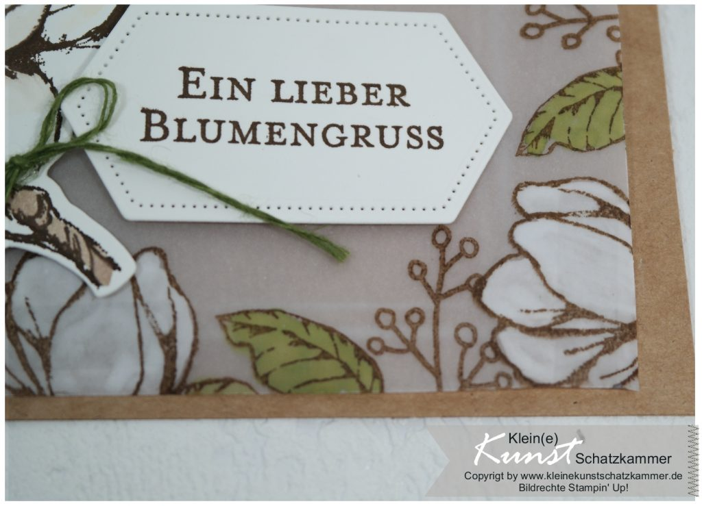Magnolienblüten Magnoliengruß Magnolienweg Karte mit Stempelset von Stampin Up!