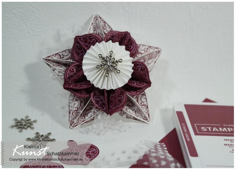 Weihnachts Stern Fenster Deko zum aufhängen basteln selbstgemacht mit Stempeln