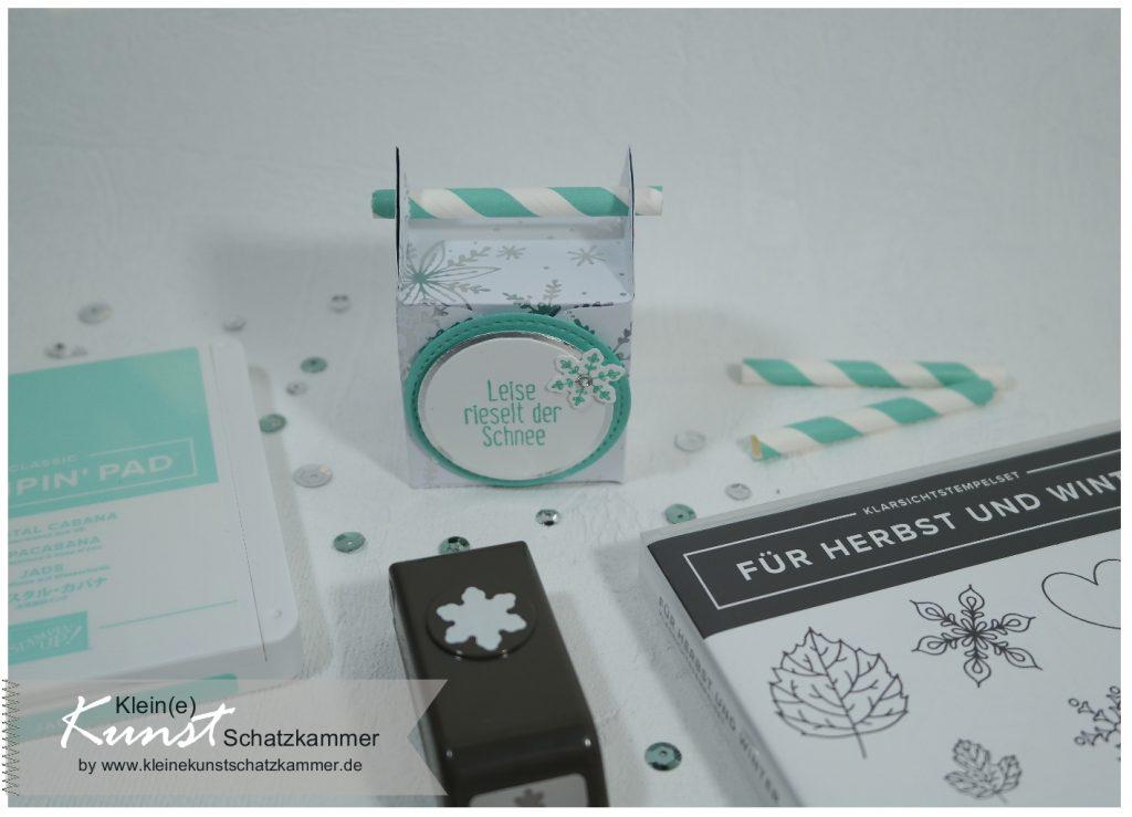 Für Herbst und Winter und Stanzen für jede Jahreszeit kleine Geschenk Schachtel selbst basteln mit Trinkhalm diy