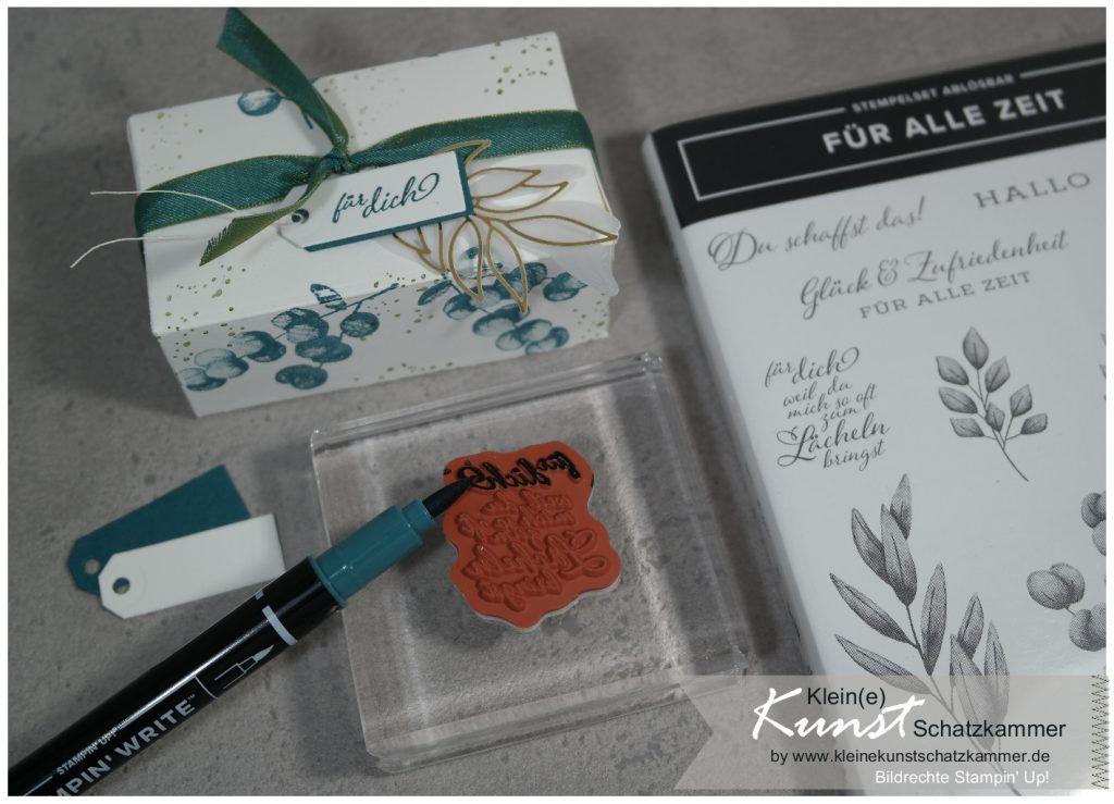 Schachtel perfekte Päckchen Stampin Up für alle Zeit Stempel einfärben mit Stiften