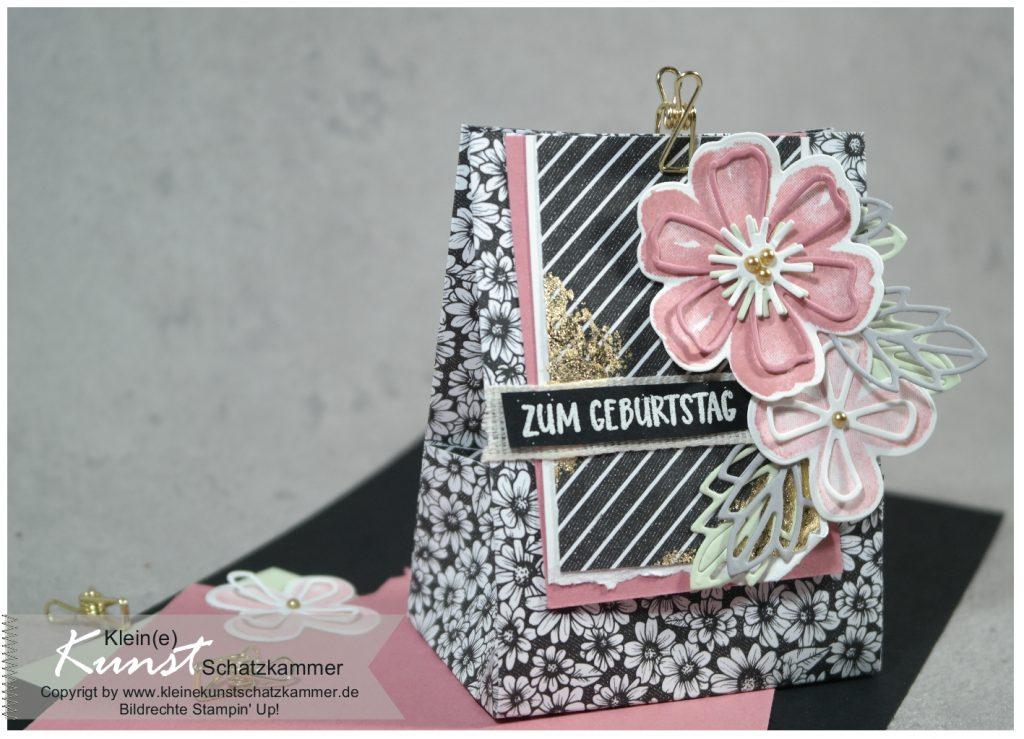 Geschenktüte selbst basteln aus Designerpapier mit Stempelset Blumen voller Freude und Stanzformen Herrlich blumig von Stampin' Up!
