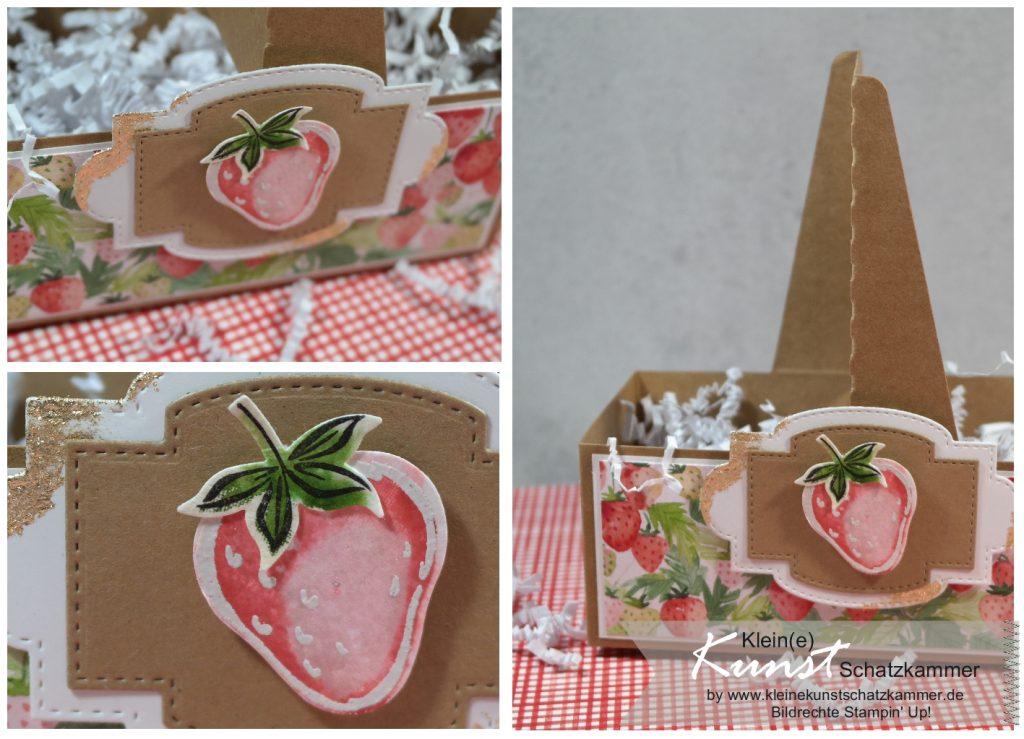 Erdbeerkörbchen Becherträger verziert mit Stempeln Beerenstark und Designerpapier Fruchtige Grüße von Stampin' Up!